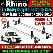 2 x Rhino Delta Van Roof Rack Bars + Load Stops Ford Transit Connect 2002-2013