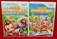 Monkey Ball Step & Roll + Banana Blitz Nintendo Wii Wii U Game Lot Works 1 Owner