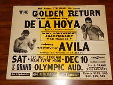 Oscar De La Hoya vs Johnny Avila Fight Poster Original 1994 Los Angeles