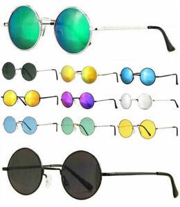 Runde Sonnenbrille verspiegelt Damen Herren Lennon Retro Hippie Metall 70er –new