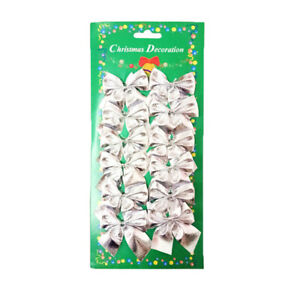 12pc Glitter Bowknot Christmas Tree Garden Fence Christmas Party Decoration NEW