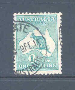AUSTRALIA PREDECIMAL KANGAROO 1/- BLUE/GREEN 1ST W/M  VERY FINE USED.......25
