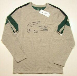 Lacoste Sleepwear Men's Gray Big Logo Graphic Crew-Neck Long Sleeve T-Shirt