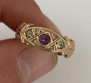 9ct Rose Gold Amethysts Peridot & Diamond Suffragette Large Heavy Ring, 9k 375