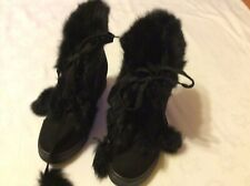 Ladies Ankle Boot Faux Suede/Faux Fur In Black Size 3/36 New By Wilady