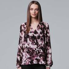 $40 SIMPLY VERA VERA WANG LONG-SLEEVE PINTUCK PEASANT TOP    SIZE XL NWT