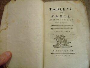 Lot livres anciens,1783, 1 Volume ,tableau de Paris