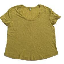 BP Womens Scoop Neck Short Sleeve Shirt Sz S Mustard Yellow Light Sheer