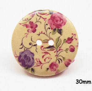 10 Large Natural Wooden Round 30mm Pink/Purple Flower, Purple Buttons - BU1128