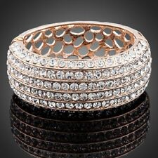 New Rose Gold Plated Sparkling Shiny Clear White Stones Fashion Bracelet Bangle