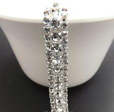 (17,98€/1m) 50 cm 3 Reihen Strass Band,Strassborte,Silber-Crystal