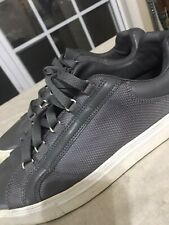 Fila Grey Leather Canvas Low Top Shoes Size 10 Mens Euro 43