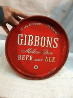Vintage Collectable Beer Serving Tray Gibbons Mellow Pure Beer And Ale 12in