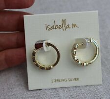 Isabella M Sterling Silver Gold CZ Loop Earrings 925 NEW