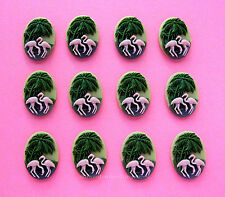12 Tropical PINK FLAMINGOS & PALM TREES 18mm x 13mm CAMEOS DIY Valentine's Gifts