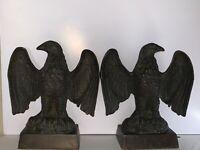 Fine Pr. Late 19th Century Mahogany Bronze Patriotic Eagle Bookends