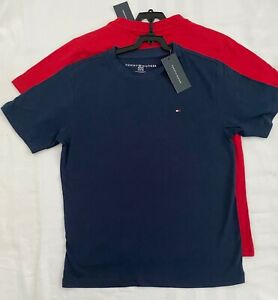 2 Pack Tommy Hilfiger Solid T Shirt Short Sleeve Flag Logo Kid's Size NWT
