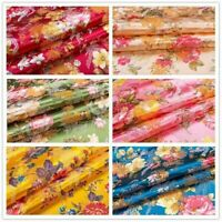 Satin Floral Fabric Faux Silk Chinese Damask Brocade Jacquard Cloth Costume Soft