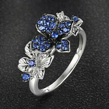Gorgeous Women Flower 925 Silver Wedding Ring Blue Sapphire Jewelry Size 6-10
