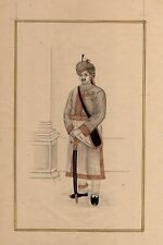 Fine Miniature Portrait Of Royal India King Painting Hand-Painted On Paper