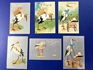 6 Stork & Babies Birth Announcements Silver Trim. VG Antique Postcards. Value
