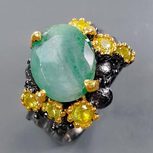 Handmade Design Emerald Ring Silver 925 Sterling  Size 7 /R177764