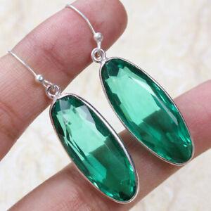 """Green Quartz 925 Silver Plated Handmade Gemstone Earrings of 1.8"""" Ethnic Gift"""