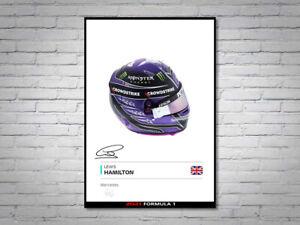 Lewis Hamilton Mercedes F1 Formula 1 2021 Helmet Signed Poster A4