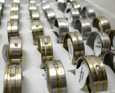 wholesale 50 X Golden silver  band CZ Stainless steel Rings Jewelry lots