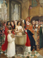 Painting Master St Giles Baptism Of Clovis Xxl Wall Canvas Art Print