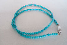 Light blue turquoise necklace with brushed sterling silver clasp Lady's Women