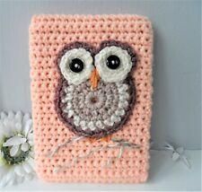 Hand Crocheted Peach Coloured Kindle Nook Kobo E-reader Cover Case Owl Motif