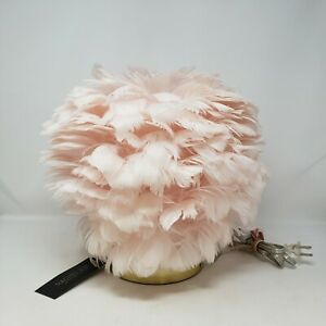 """NEW WITH DEFECTS Rachel Zoe Pink Feather 12"""" Table Lamp Brass Colored Base"""