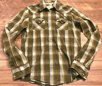HOLLISTER Green Blue Long Sleeve Snap Button Down Casual Shirt mens Medium MD