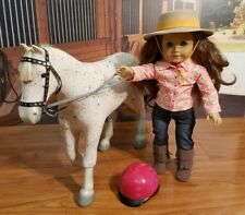 EUC American Girl Doll Saige, Her Horse Picasso , hat , hemlet