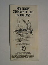 New Jersey Summary Of 1981 Fishing Laws Pamphlet