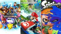 Nintendo Wii U 32 GB Black Console + Mario Kart 8 +Splatoon + Super Smash Bros