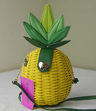 Betsey Johnson Yellow Straw Pineapple Crossbody Wristlet