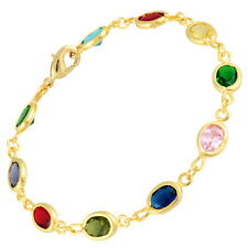 Oval Zirconia Multi-color Tennis Bracelet Melina Wedding 18K Yellow Gold Gp