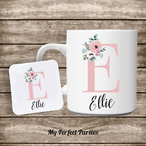 Personalised Mug, Pink Floral Initial, Gift for Her, Birthday Present, Mum Nan