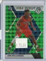 Zion Williamson 2019-20 Panini Mosaic NBA Debut Green Mosaic Prizm Pelicans RC