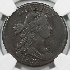1802 S-231 NGC VF 25 No Stems Draped Bust Large Cent Coin 1c