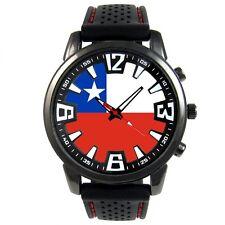 Republic Of Chile Country Flag Mens Black Silicone Strap Quartz Wrist Watch S43F