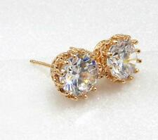 Women Smart 8mm Stud Earrings Simulated Diamond 18K Yellow Gold Plated Luxury