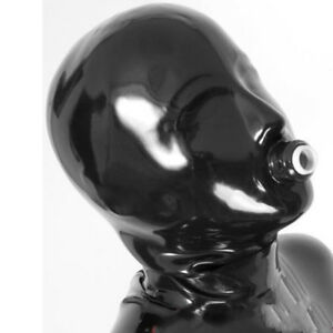 Latex Hood with Mouth Tube for Play Handmade Rubber Mask Club Wear Costume