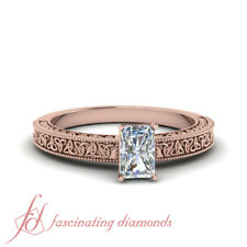 Rose Gold 0.50 Ctw Radiant Cut Single Diamond Engraved Milgrain Engagement Ring