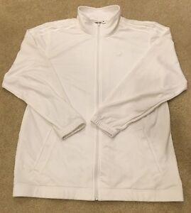 """Adidas Men's Basketball ClimaLite White full-zip Jacket Sz Med """"Deadstock"""""""