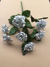 Silver Rose Bunch Artificial Wedding Flowers Fake Cake Posy Bush Craft Roses