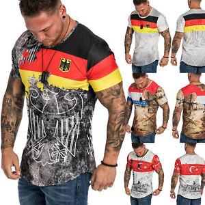 Länder Em WM  Oversize Herren Crew Neck  Shirt Sommer T-Shirt Rundhals R-0036