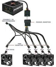 "PWM Fan Splitter Cable Adapter: 4-pin + molex to 5 x 4-pin / 17.72"" (45cm)"